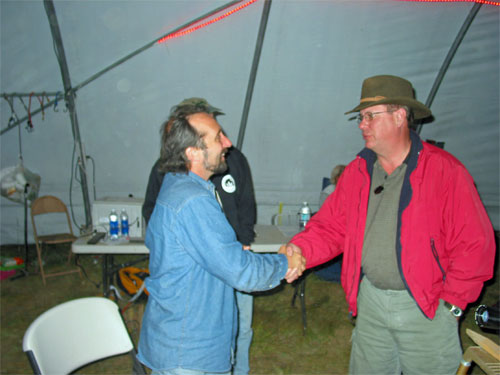 Two great teachers, Stephen O'Meara (left) and Joe Rottmann in 2005